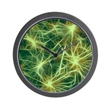 stars fractal green Wall Clock