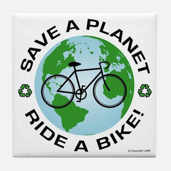 Environmental Bike Slogan Tile Coaster