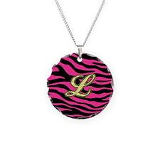HOT PINK ZEBRA GOLD L Necklace