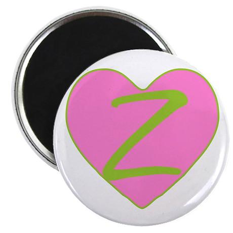 "Pink Heart Monogram Initial Z 2.25"" Magnet (10 pac"