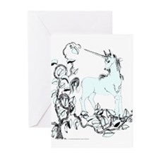 Pale Blue Unicorn and Vine Greeting Cards (Package