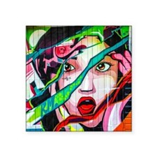 "Screaming Girl Graffiti Square Sticker 3"" x 3"""