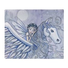 Carry Me Away Fairy and Pegasus Art Throw Blanket