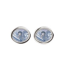 Carry Me Away Fairy and Pegasus Art Oval Cufflinks