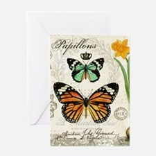 Modern Vintage Butterflies and Daffodils Greeting