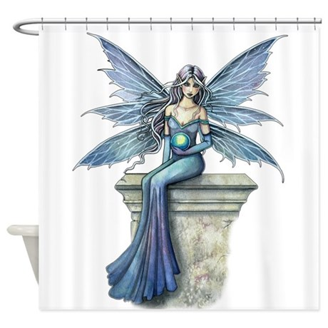 Blue celeste fairy fantasy art shower curtain by robmolily for Fantasy shower curtains
