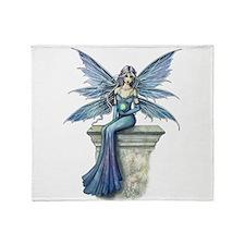 Blue Celeste Fairy Fantasy Art Throw Blanket