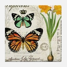 Modern Vintage Butterflies and Daffodils Tile Coas
