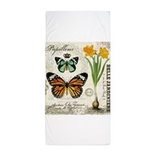 Modern Vintage Butterflies and Daffodils Beach Tow