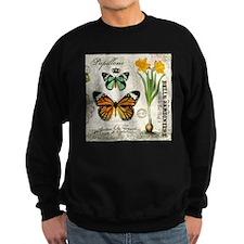 Modern Vintage Butterflies and Daffodils Sweatshir