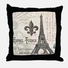 Modern Vintage Eiffel Tower Throw Pillow