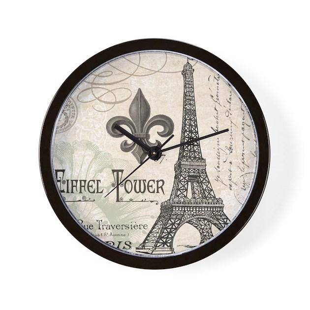Modern Vintage Eiffel Tower Wall Clock by DesignsbyHeatherMyers1