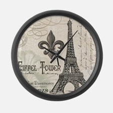 Modern Vintage Eiffel Tower Large Wall Clock