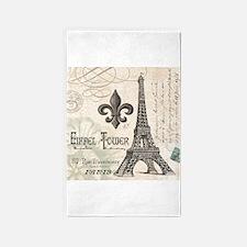 Modern Vintage Eiffel Tower 3'x5' Area Rug
