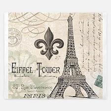 Modern Vintage Eiffel Tower King Duvet