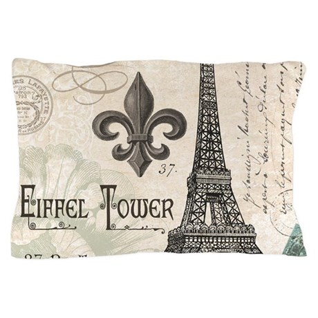 Modern Vintage Pillows : Modern Vintage Eiffel Tower Pillow Case by DesignsbyHeatherMyers1