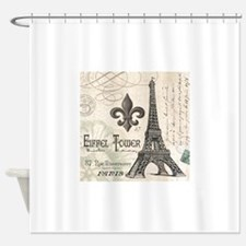 Modern Vintage Eiffel Tower Shower Curtain