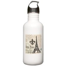 Modern Vintage Eiffel Tower Water Bottle