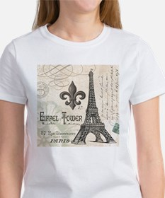 Modern Vintage Eiffel Tower T-Shirt