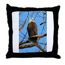 Bald Eagle on Guard Throw Pillow