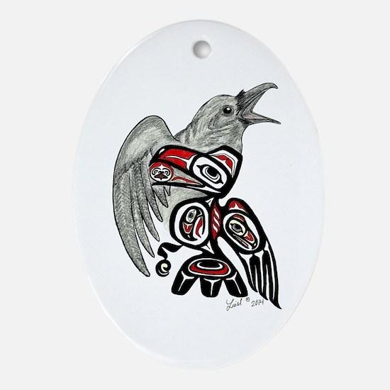 Raven Spirit Ornament (oval)
