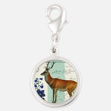 Modern vintage woodland deer and flowers Charms
