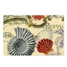 modern beach seashells seahorse Postcards (Package
