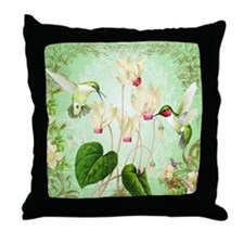 Modern Vintage French Hummingbirds Throw Pillow