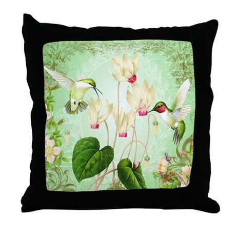 Modern Vintage Pillows : Modern Vintage French Hummingbirds Throw Pillow by DesignsbyHeatherMyers1