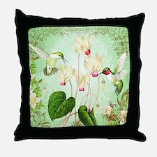 Modern Vintage French Hummingbirds Throw Pillow