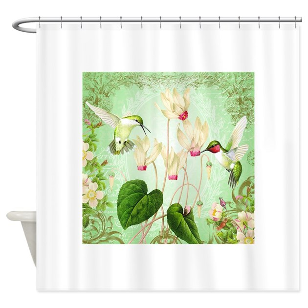 Modern Vintage French Hummingbirds Shower Curtain By