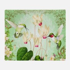 Modern Vintage French Hummingbirds Throw Blanket