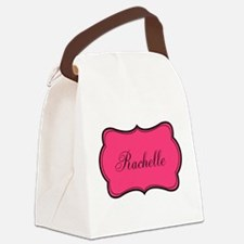 Personalizable Pink and Black Canvas Lunch Bag
