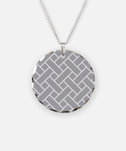 Gray Basket Weave Necklace