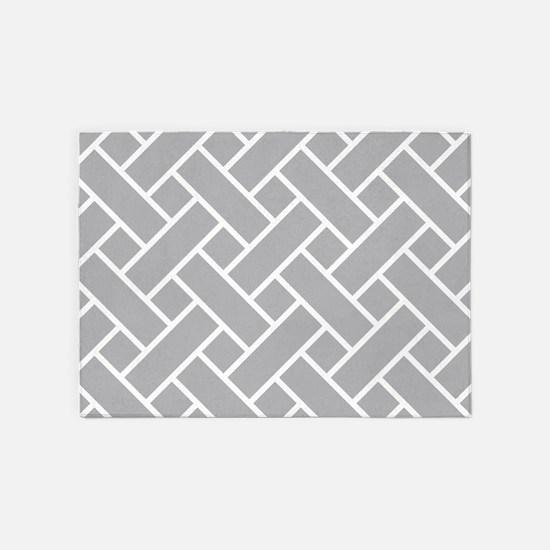 Gray Basket Weave 5'x7'Area Rug