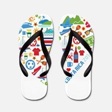 Costa Rica World Cup 2014 Heart Flip Flops