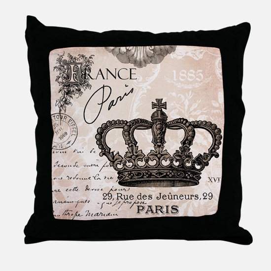 Modern Vintage French crown Throw Pillow