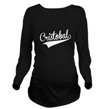 Cristobal, Retro, Long Sleeve Maternity T-Shirt