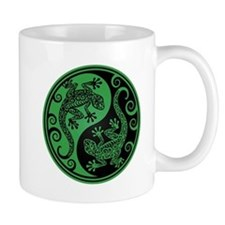 Green and Black Yin Yang Geckos Mugs