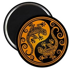 Yellow and Black Yin Yang Geckos Magnets