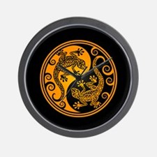 Yellow and Black Yin Yang Geckos Wall Clock