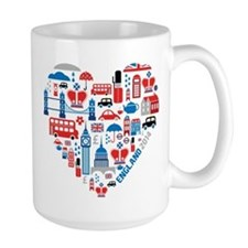 England World Cup 2014 Heart Mug