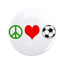 "PEACE LOVE SOCCER 3.5"" Button"
