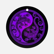 Purple and Black Yin Yang Geckos Ornament (Round)