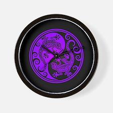 Purple and Black Yin Yang Geckos Wall Clock