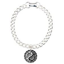 White and Black Yin Yang Geckos Bracelet