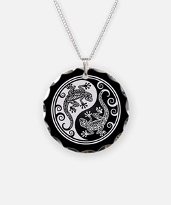 White and Black Yin Yang Geckos Necklace