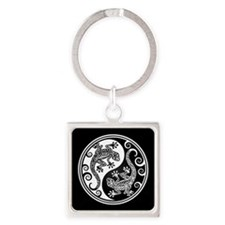 White and Black Yin Yang Geckos Keychains
