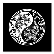 White and Black Yin Yang Geckos Square Car Magnet