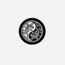 White and Black Yin Yang Geckos Mini Button